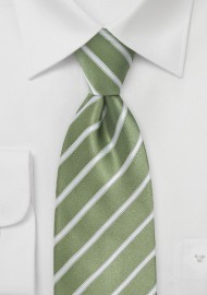 Moss Green and White Striped Tie in Kids Size