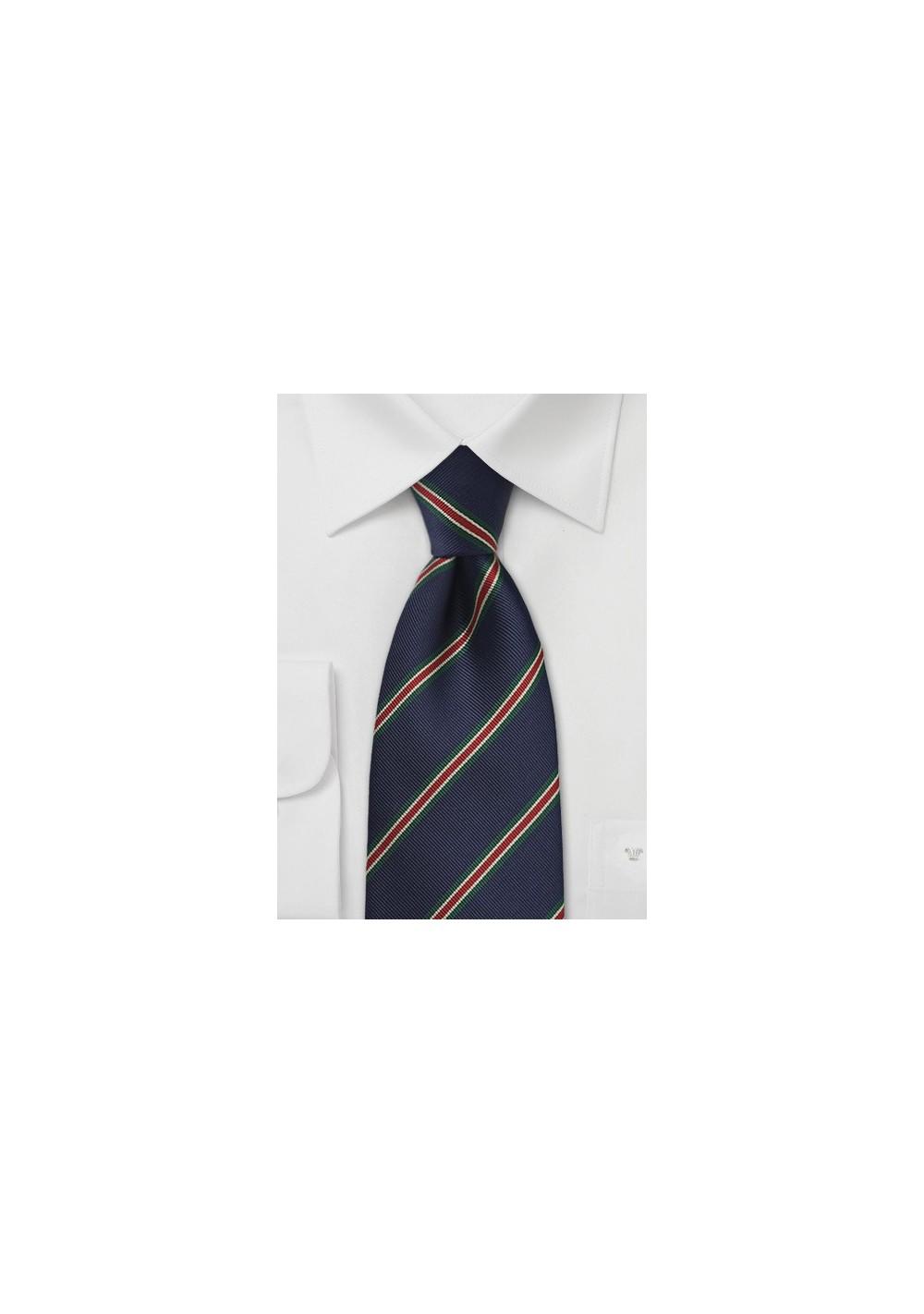 XL British Striped Tie in Navy