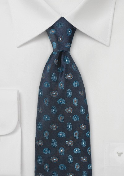 Mens Navy Tie with Teal Paisleys