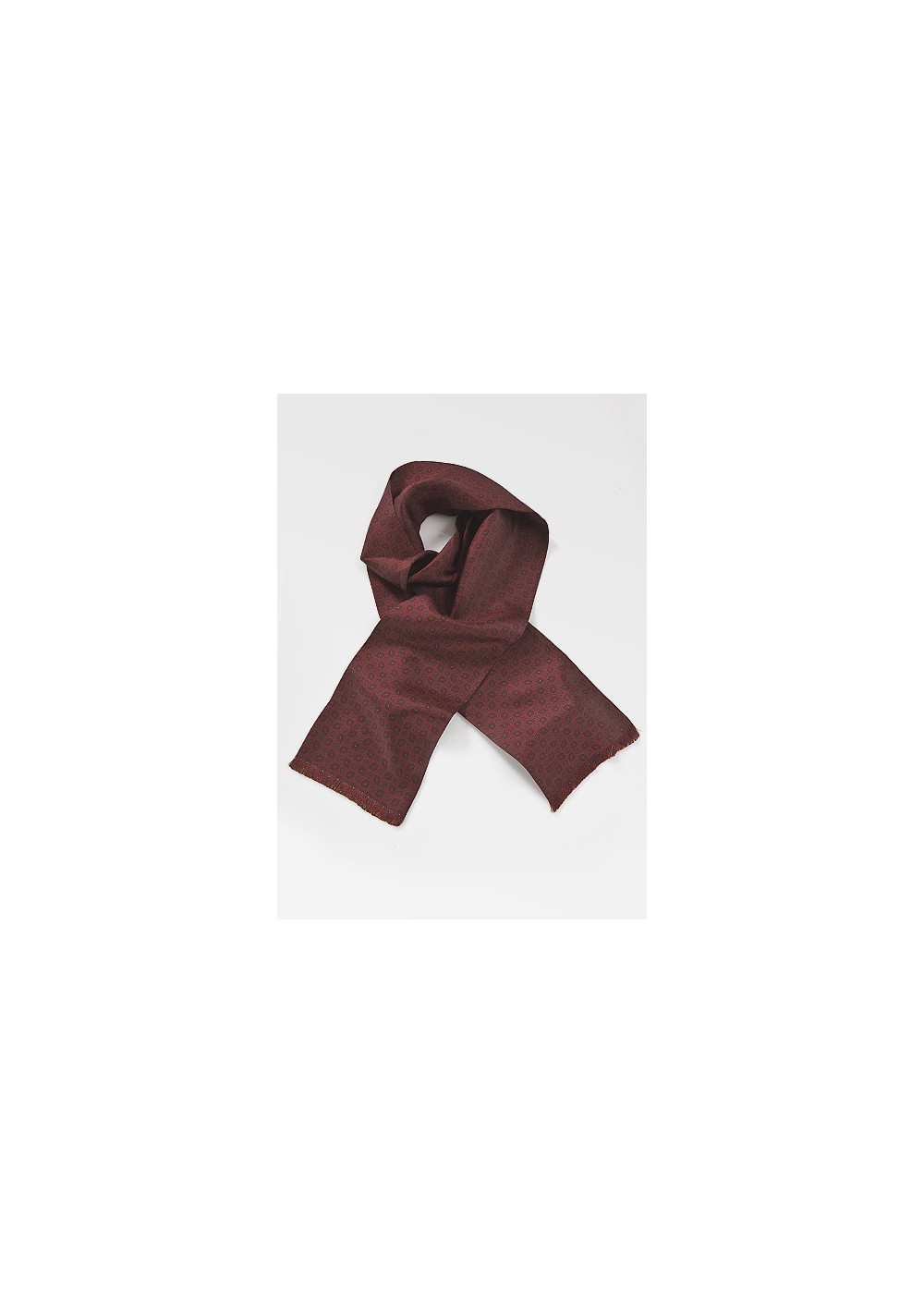 Classically Patterned Silk Scarf in Burgundy and Olive