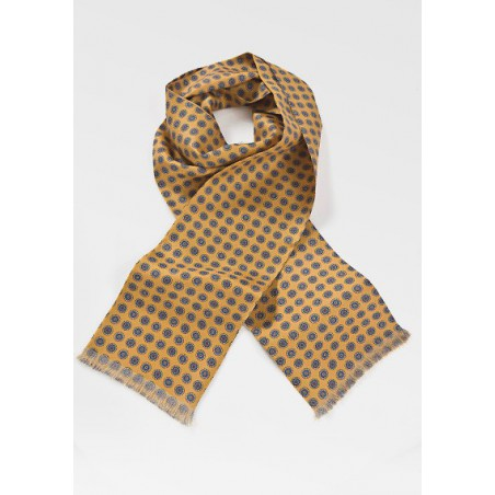 Mens Patterned Silk Scarf in Golds and Blues