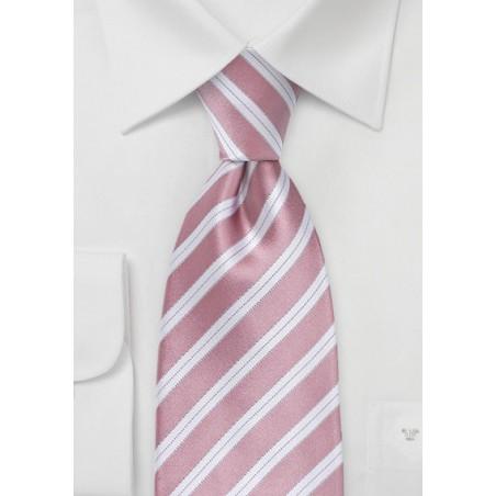 Striped Kids Sized Tie in Rose Petal Pink