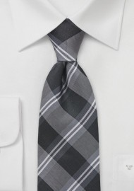 Plaid Kids Sized Tie in Tonal Greys