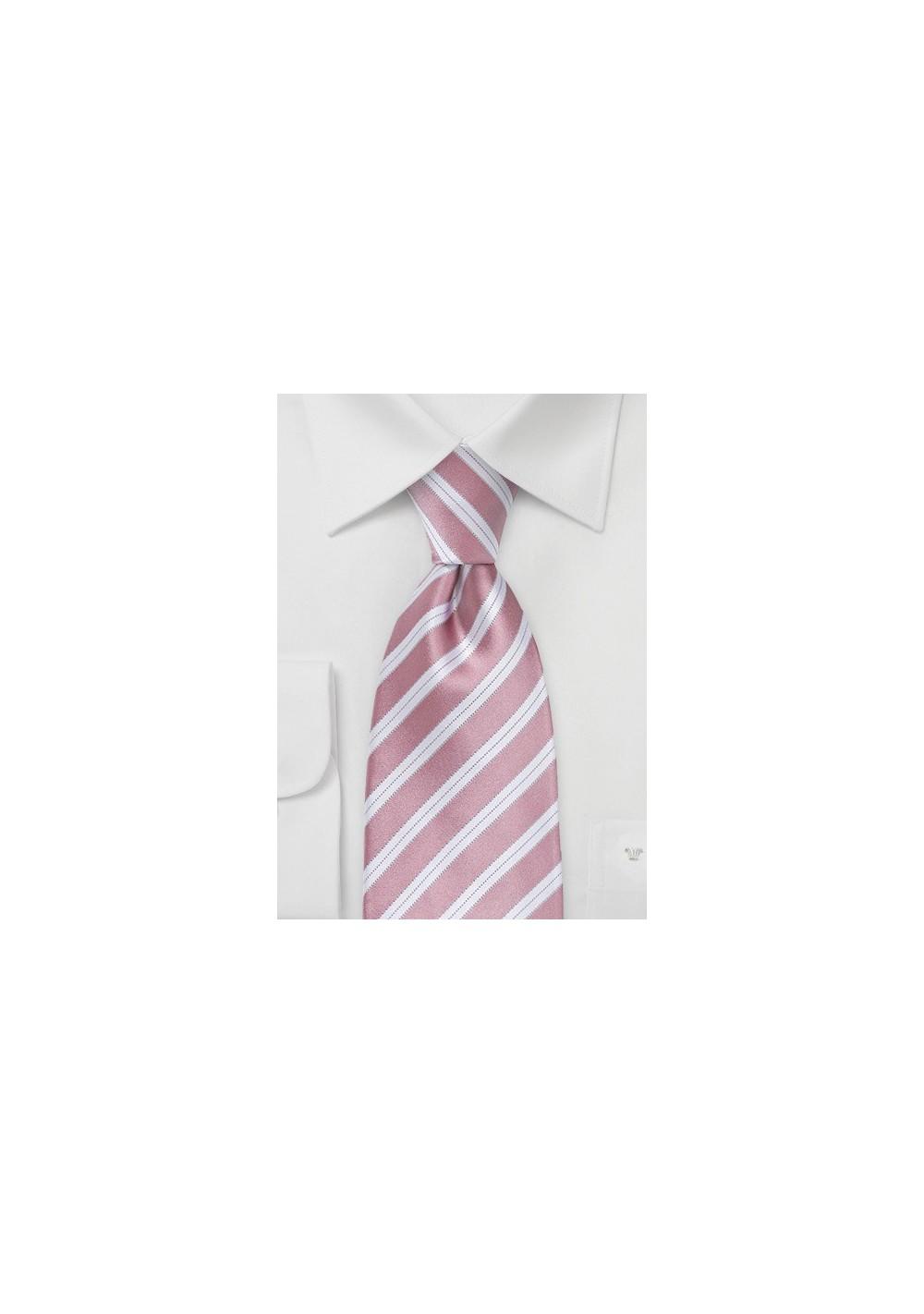 Striped XL Length Tie in Rose Petal Pink