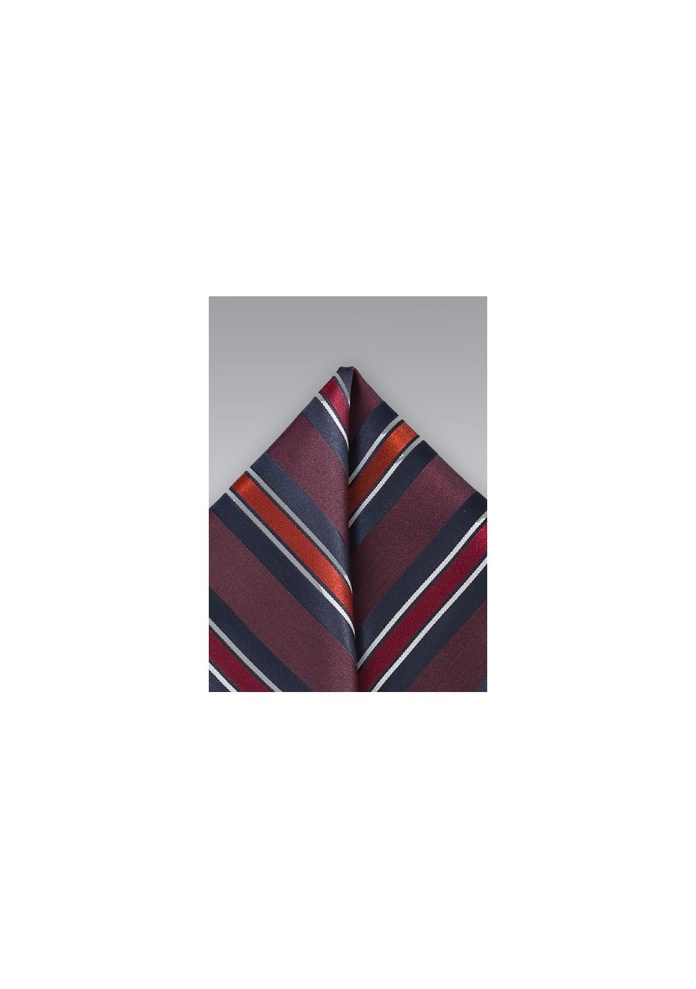 Boldly Striped Pocket Square in Merlot