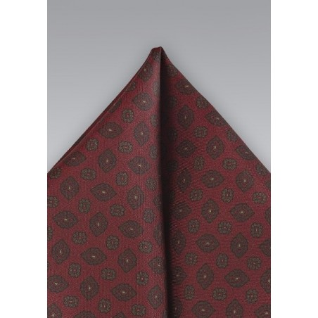 Regal Patterned Pocket Square in Burgundy