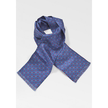 Luxe Floral Patterned Scarf in Horizon Blue