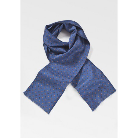Royal Blue Floral Silk Scarf