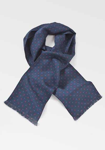 Geometric Floral Scarf in Navy Blue