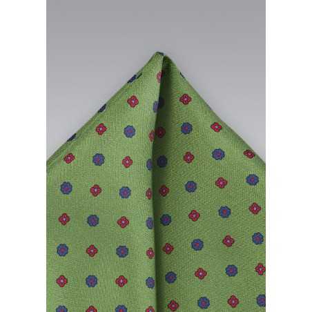 Geometric Pocket Square in Muted Moss