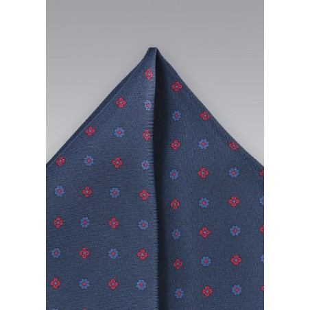 Silk Pocket Square in Midnight Blue