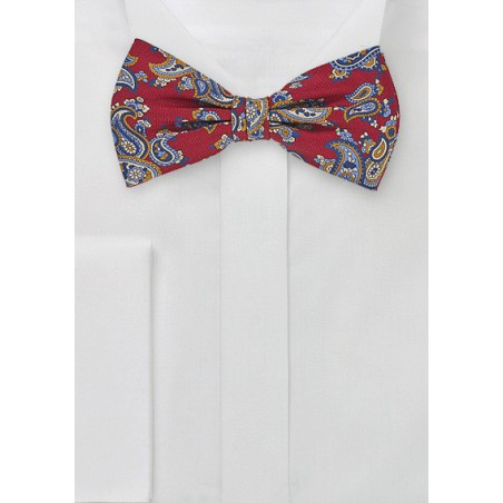 Paisley Patterned Bow Tie in Crimson Red
