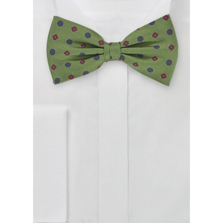 Retro Floral Bow Tie in Organic Greens
