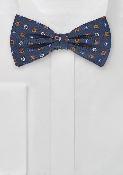 Dapper Navy Blue Bow Tie with Orange Accents