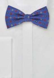 Retro Floral Bowtie in Nautical Blue