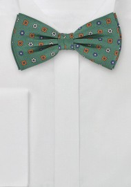 Mens Patterned Bow Tie in British Green