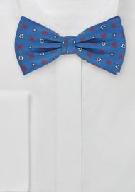 Retro Floral Tie in Victoria Blue