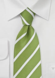 Grass Green and White Striped Extra Long Tie