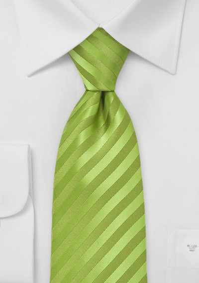 Extra Long Apple Green Tie
