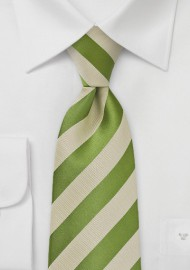 Kids Fern Green and Tan Striped Tie