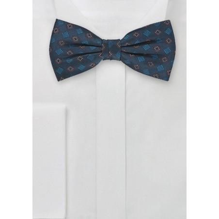 Silk Bow Tie in Dark Aqua-Blue