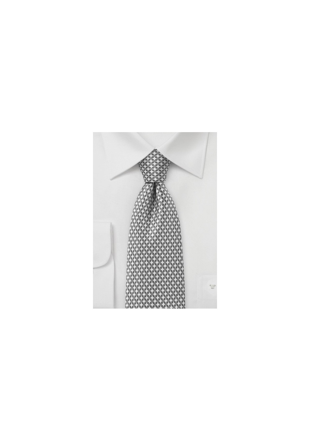 Graphic Tie in Ivory and Charcoal