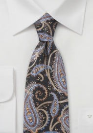 Modern Paisley Necktie in Blacks and Blues