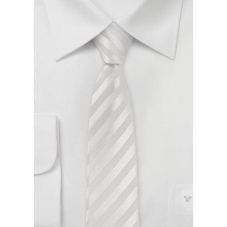 Striped White Skinny Tie