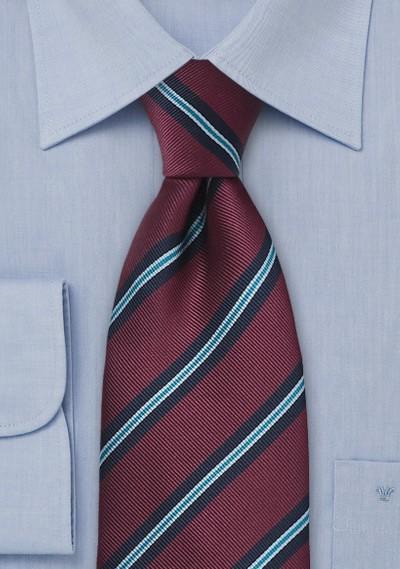 Burgundy Striped XL Length Regimental Tie