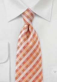 Plaid Tie in Tropical Oranges