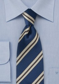 Retro Striped Tie in Dark Blues, Tans and Browns
