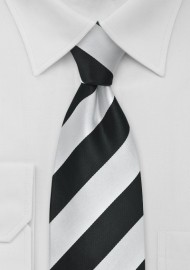 Black and Silver Striped Tie for Kids