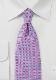 Grid-Like Tie in Fushcia and Violet