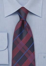 Pure Silk Navy Tie in Plaid Pattern