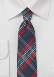 Tartan Check Skinny Tie in Navy and Red