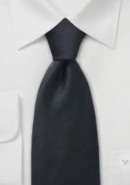 Solid Ribbed Textured Kids Tie in Black