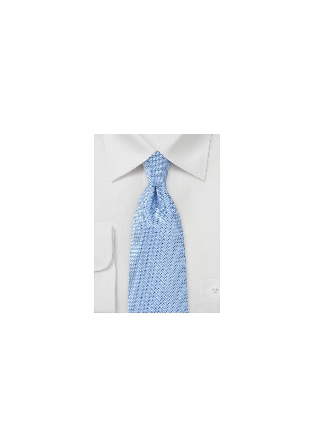 Solid Light Blue Tie with Textured Weave