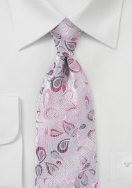Modern Floral Patterned Tie in Pinks and Silvers