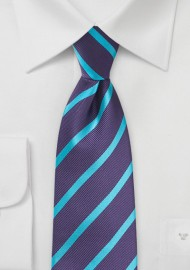Purple and Teal Striped Tie