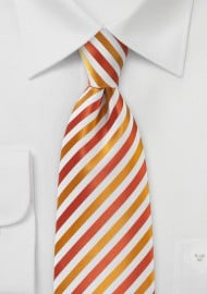 Cherry Red & Pumpkin Orange Striped Necktie