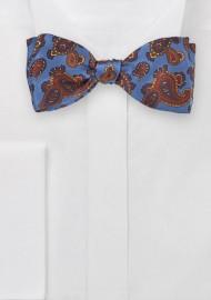 Venetian Blue Paisley Bow Tie