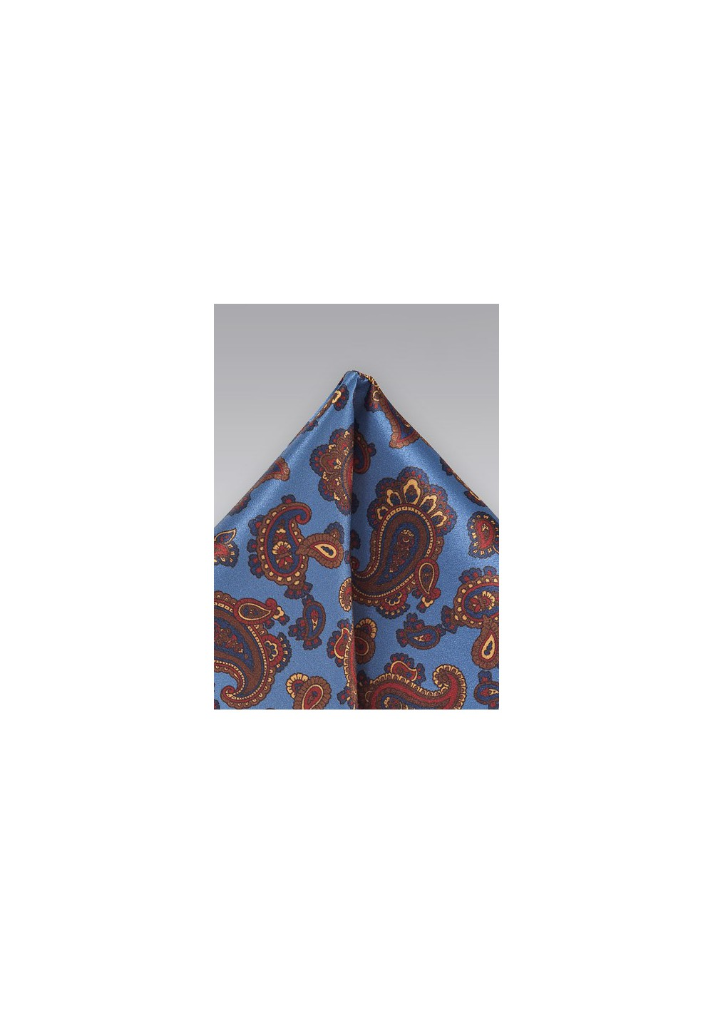 Luxe Paisley Pocket Square in Venetian Blue