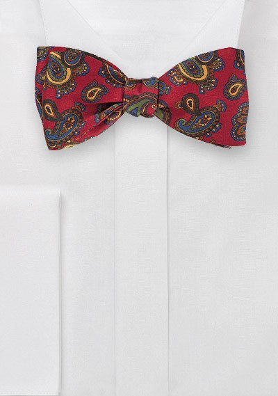 Luxe Paisley Bow Tie in Imperial Red