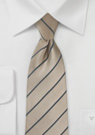 Striped Latte Necktie with Satin Finish