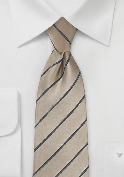 Striped Latte Necktie with Satin Finish