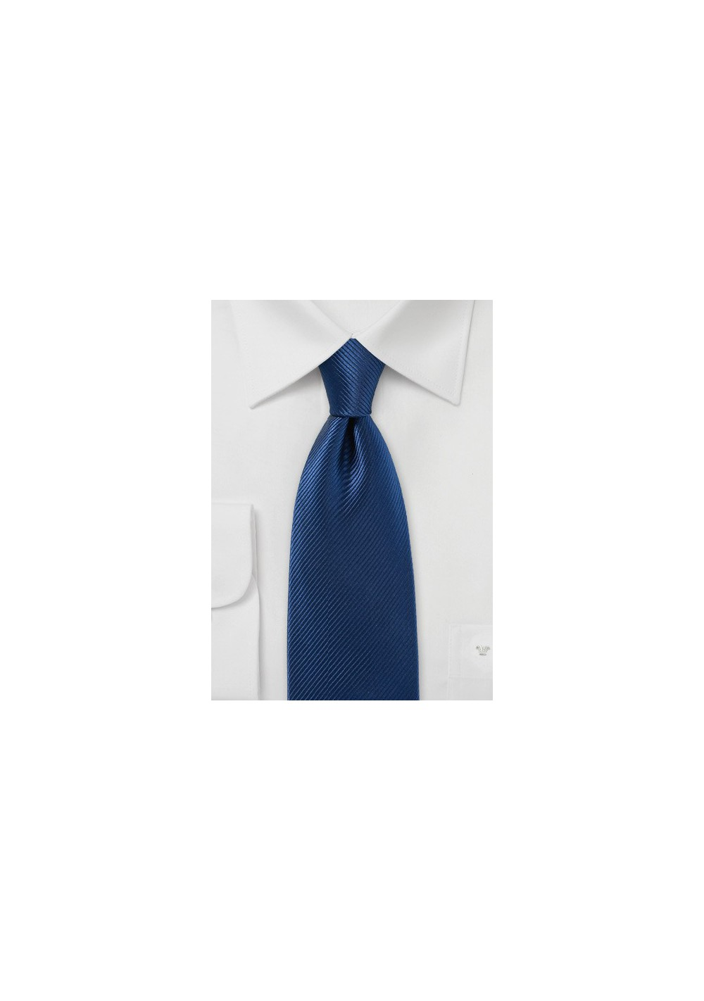 Solid Royal Blue Tie with Narrow Ribbed Texture