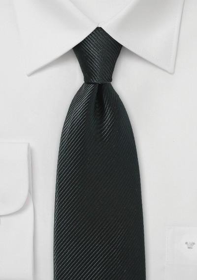 Jet Black Necktie with Sharp Ribbed Texture