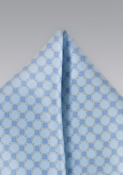Art Deco Pocket Square in French Blues