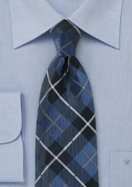 Pure Silk Blue Tartan Necktie