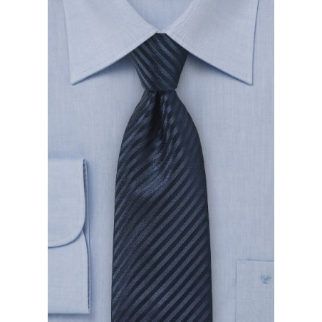Textured Striped Silk Tie in Dark Navy
